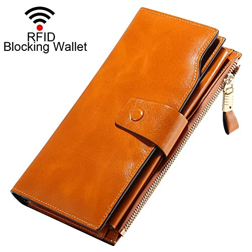 8b90857d5022 Designer Wallets for Women RFID Oil Waxed Cowhide Leather Purses Super  Large Capacity Ladies Wallet with