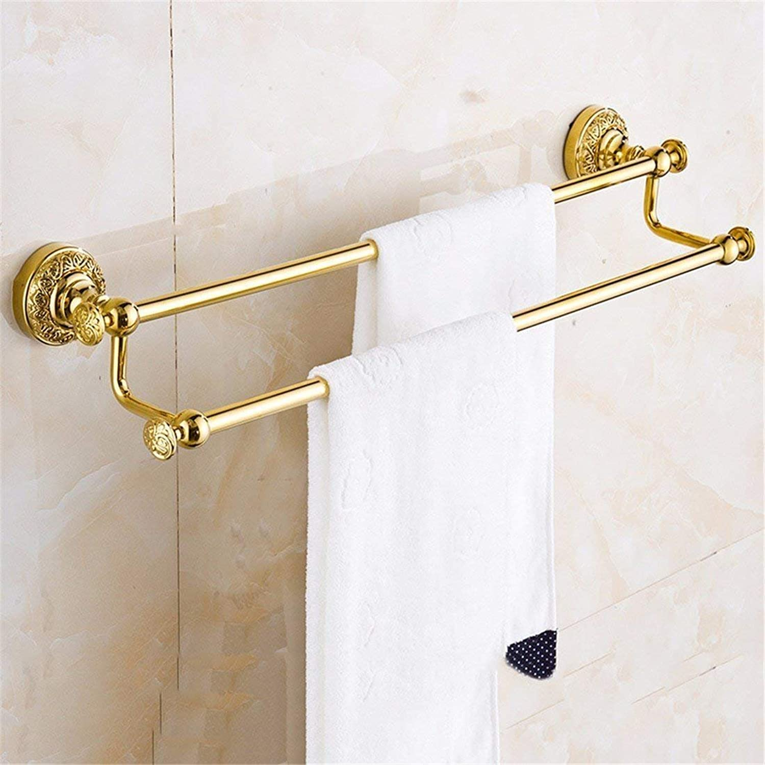 European Copper gold Carved Accessories of Bathroom is Committed to Using a Toilet Brush,Double Rack