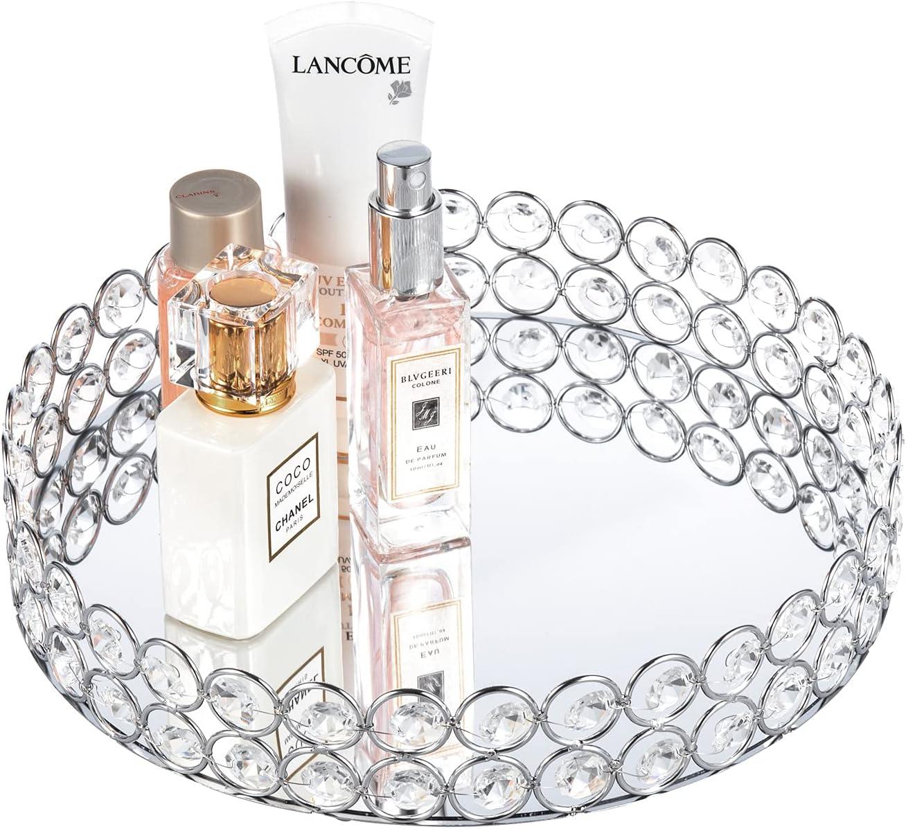 Eiyye 10inch Round Crystal Makeup Tray Mirrored Decorative Vanity Trays Home Decor Jewelry Trinket Organizer Trays