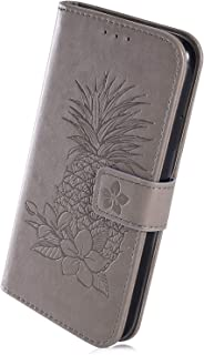 Herbests Compatible with Huawei Y5 2017 Wallet Case Emboss Pineapple Folio Magnetic Protective Cover with Card Slots Flip Leather Case with Card Slots and Stand for Women Girls,Brown