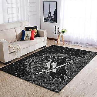 OwlOwlfan Grand tapis de sol antidérapant nordique Viking pour chambre à coucher, canapé, salon, chambre d'enfant, chambre...