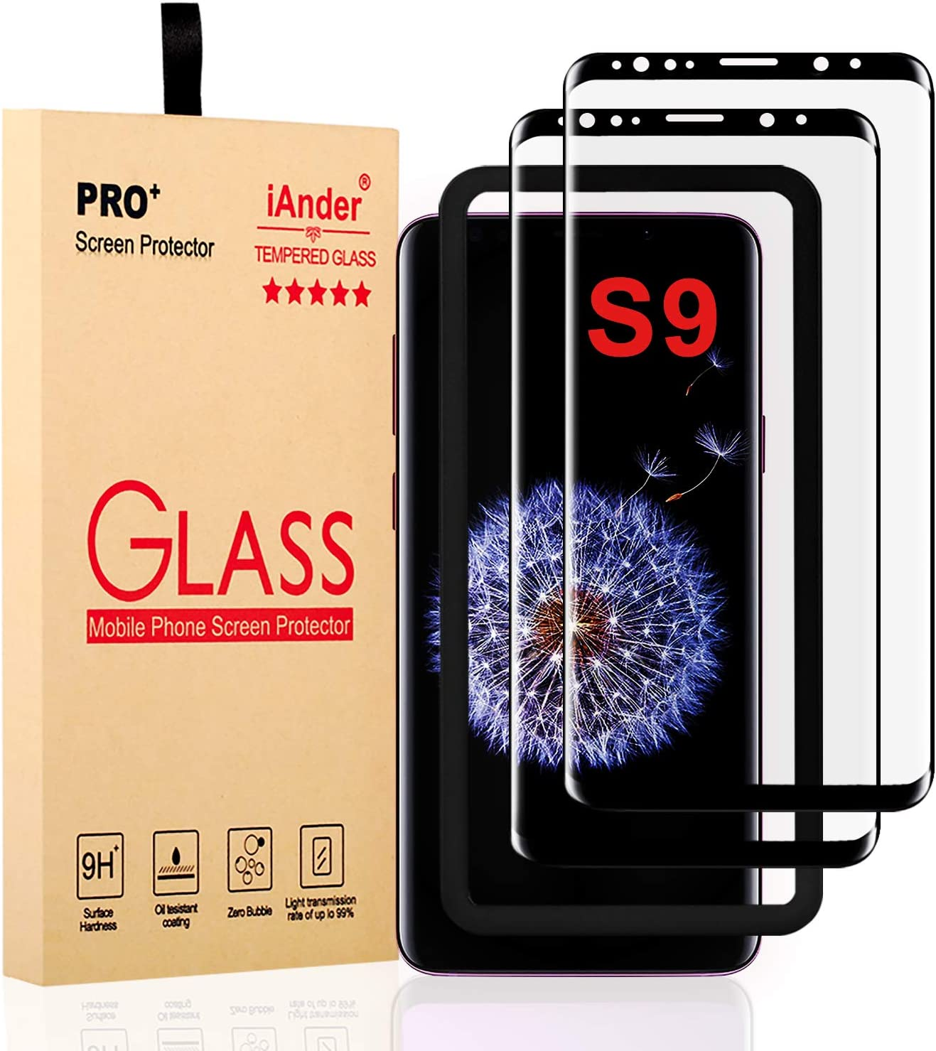 iAnder [2-Pack] Galaxy S9 Screen Protector Glass [Easy Installation Tray],3D Curved Dot Matrix [Full Screen Coverage] Tempered Glass Screen Protector for Galaxy S9[Case Friendly]