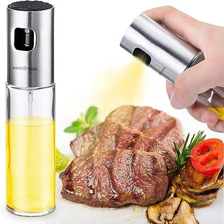 Preisvergleich für AMBOTHER Oil Sprayer Ölsprüher Öl Zerstäuber Essig Spender Glasflasche Küche Werkzeug für Pasta/BBQ/Salate/Kochen/Backen/Grillen 100ml