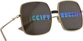 Gucci GG0414S Sunglasses Gold w/Multicolor Mirror Lens 60mm 002 GG0414/S 0414/S GG 0414S