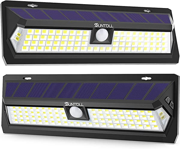 SUNTOLL Solar Lights Outdoor 80 LED Super Bright 270 Wide Angle Motion Sensor Lights Wireless Waterproof Security Solar Light For Front Door Yard Garage Deck Porch Shed Walkway Fence 2 Pack
