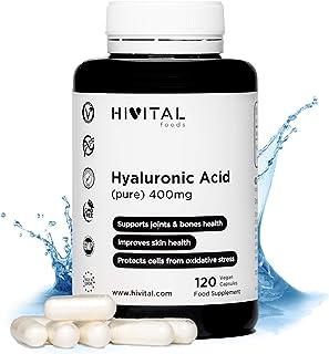 Ácido Hialurónico puro 400 mg | 120 cápsulas veganas (Suministro para 4 meses) | Alta dosis. concentración y biodisponibilidad que mantiene los cartílagos. articulaciones. huesos y piel sanos