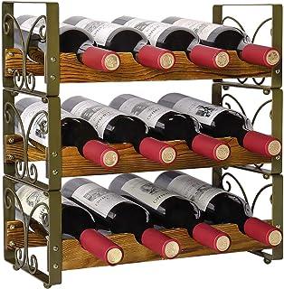 X-cosrack Étagère rustique empilable pour 12 bouteilles de vin, 3 étages, support de rangement, étagère de rangement pour ...