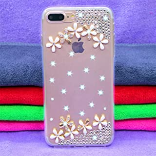 QFH Fevelove Diamond Encrusted Christmas Santa Claus Pattern TPU Protective Case for iPhone 7P / 8P(Butterfly lovers) new style phone case (Color : The small white flowers)