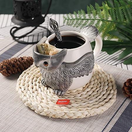 PULCHRITUDIE Owl 17oz Ceramic Coffee Tea Mug, Hand Painted