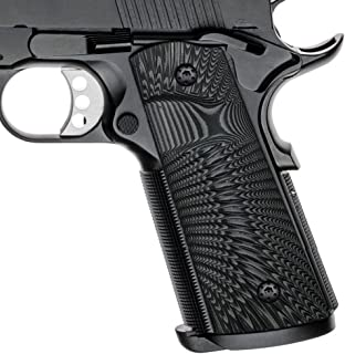 Cool Hand 1911 G10 Grips, Screws Included, Full Size (Government/Commander), Magwell Cut,Big Scoop, Ambi Safety Cut, Sunburst Texture