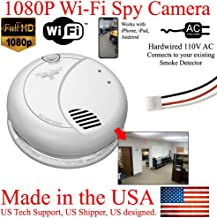 SecureGuard 1080P WiFi Smoke Detector HD Hidden Spy Camera Wireless IP Cloud P2P Wi-Fi Mobile Covert Nanny Cam Spy Camera Gadget (Replace Your existing Fire Alarm, 110V AC Quick Connector, See Pics)