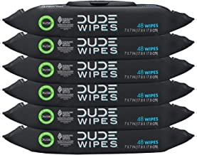 DUDE Wipes Flushable Wipes Dispenser (6 Packs, 48 Wipes Each), Unscented Wet Wipes with Vitamin-E & Aloe for at-Home Use, ...