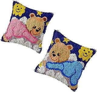 2 ensemble de kits de crochet de loquet bricolage jet d'oreiller couvercle avec un motif d'ours mignon pré-imprimé en toil...