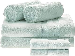 iDesign Ensemble Serviettes de Bain avec accroches (Lot de 6), Serviettes de Toilette Extra-Douces 100% Coton, Set de 2 dr...