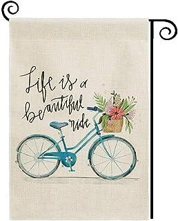 دولبول علم منزل الصيف 71.12 × 101.6 سم ديكور مزدوج الجانب الحياة العمودية هي دراجة زرقاء جميلة مع زهور موسمية ساحة العلم ل...