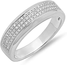 Dazzlingrock Collection 0.25 Carat (ctw) Round White Diamond Men's Micro Pave Hip Hop Wedding Band 1/4 CT, Sterling Silver