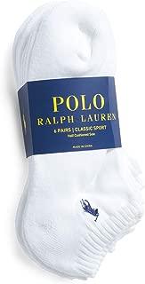 Polo Ralph Lauren Mens NO Show Socks (Size 6-12, White 6 Pairs)