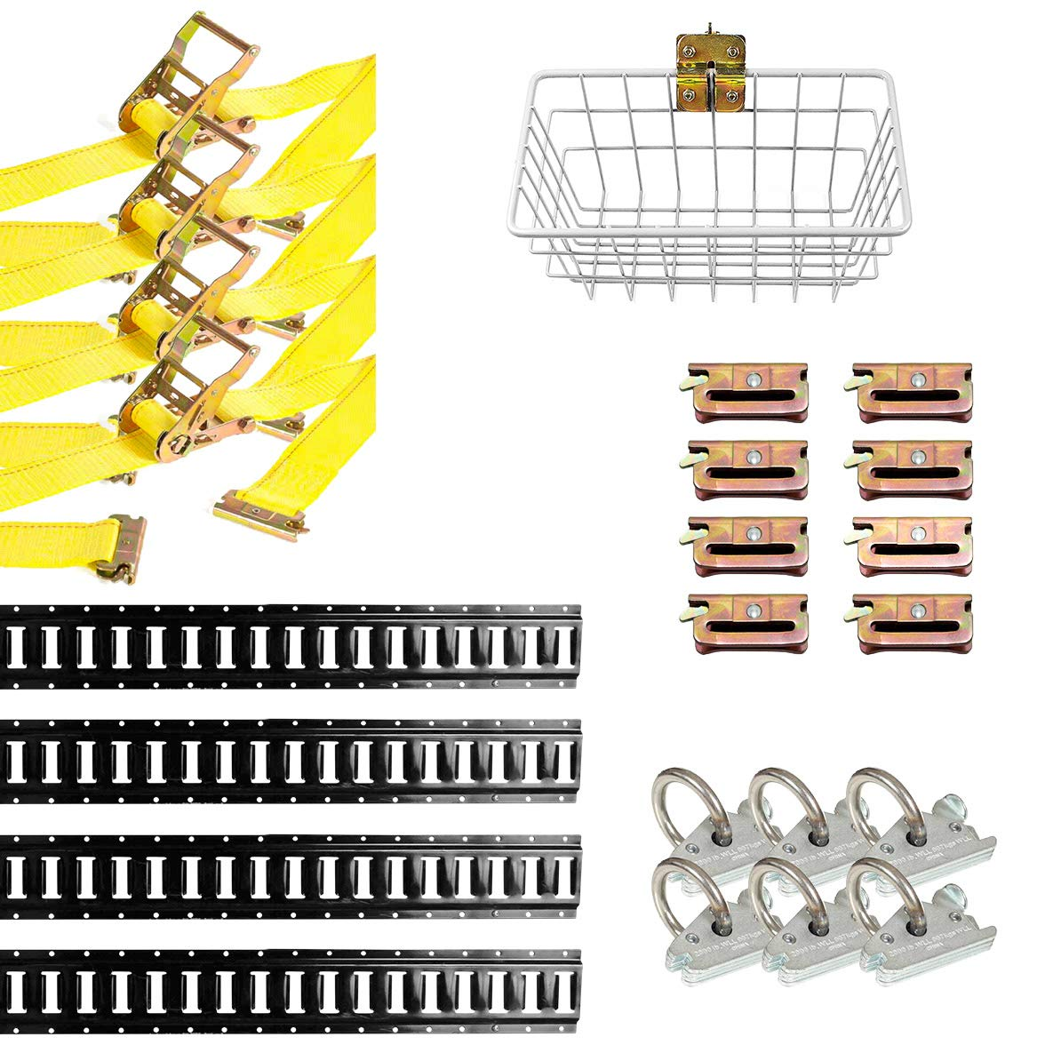 E-Track Rails NOT Included DC Cargo Mall E Track Tie-Down Kit 8 Pieces: E-Track Accessories Includes 12 ft E Track Straps and O-Rings