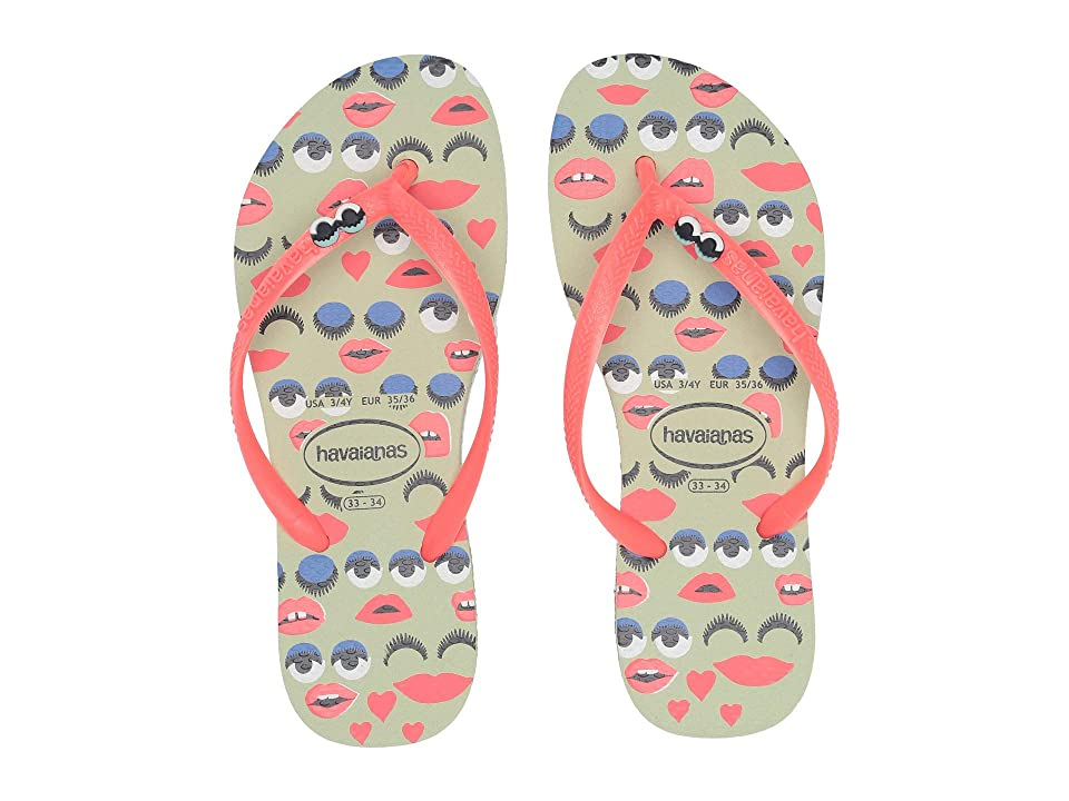 Havaianas Kids Attitude Flip-Flop (Toddler/Little Kid/Big Kid) (Green Apple) Girls Shoes