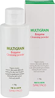 SAERACO Premium Multigrain Enzyme Cleansing Powder for Face Wash, Scrub, Exfoliates, Brightening - Natural, Refreshing & Organic Collagen Boosting Ingredients Cleanser for Men and Women - 2.4oz