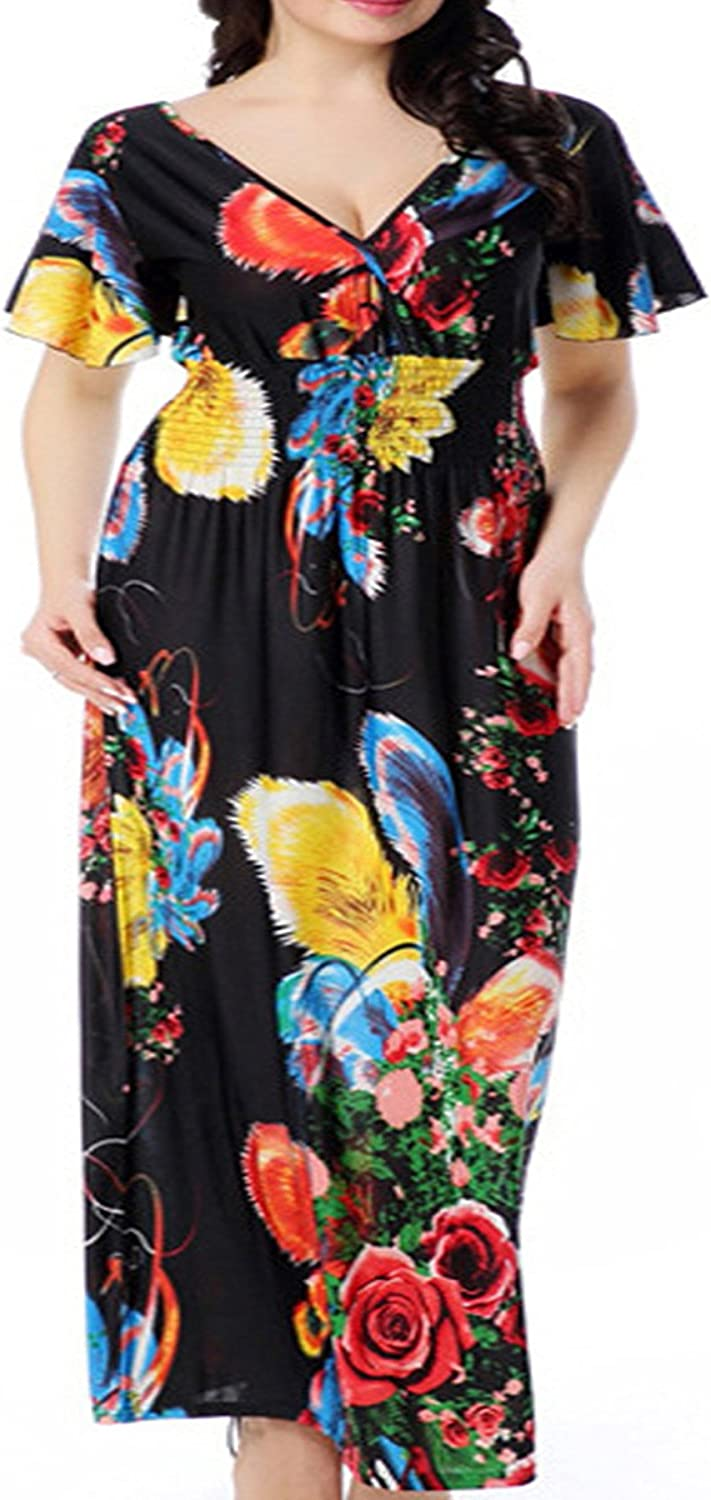 Greenis Summer Women Maxi Dress Casual Floral V Back Sexy
