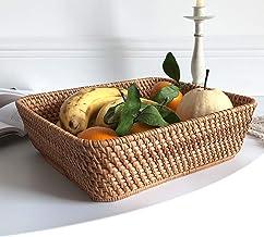 MAHFEI Rectangle Woven Bread Roll Basket, Rattan Storage Basket Multifunctional Snack Storage Box Household Sundries Stora...