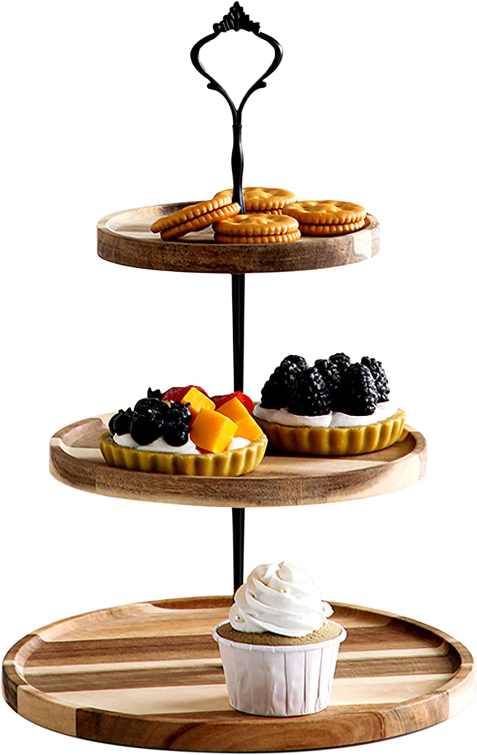 Refrase Life 3 Tier Cupcake Stand Wood | Tiered Serving Tray for Dessert Table | Farmhouse Decor, Tea Party Decor | Decorative Serving Tray, Dessert Tray, Medium 14.5