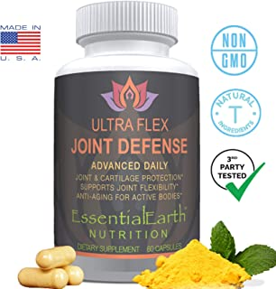 EssentialEarth Nutrition UltraFlex Joint Defense - Glucosamine + Chondroitin Turmeric MSM & Boswellia - Natural Inflammatory Response Lubrication Health & Mobility Support for Aches, Pain & Soreness