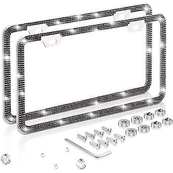Luxury Handmade Thin Border Stainless Steel License Plate Frames for Front Back License ONCHA Bling Black Rhinestone License Plate Frame for Women