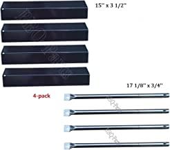 Hongso Grill Repair Kit Amana AM26LP, AM27LP, AM30LP-P, AM33LP-P, Surefire SF278LP, SF308LP Gas Grill Replacement Kit Stainless Steel Burners, Porcelain Heat Plates-4pack (PPF731-SBF731)