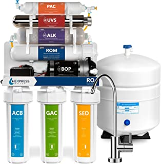 Express Water Alkaline Ultraviolet Reverse Osmosis Filtration System – 11 Stage RO UV Mineralizing Alkaline Purifier with Faucet and Tank – Mineral, Antioxidant, pH + – Pressure Booster Pump – 100 GDP