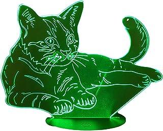 GATTO, Lampada illusione 3D con LED - 7 colori.