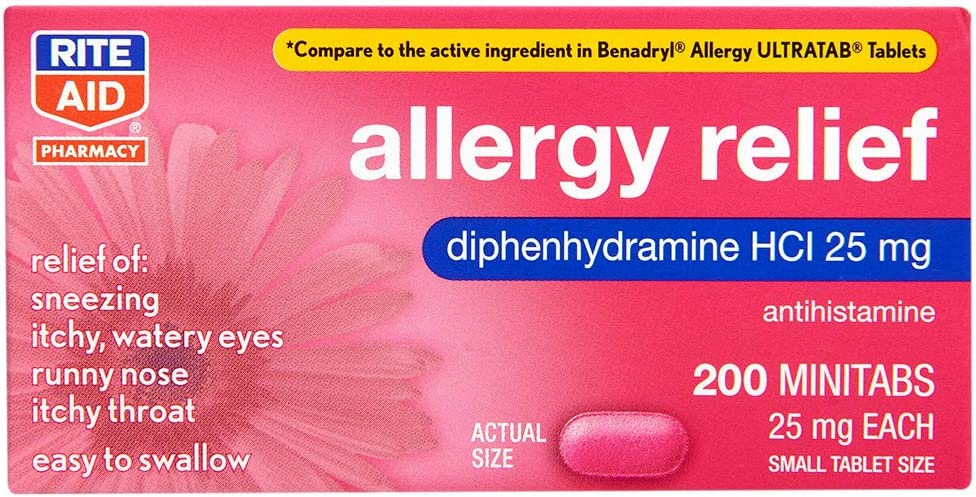 Rite Aid Antihistamine Dealing full price reduction Allergy Manufacturer regenerated product Relief Diphenhydramine with 25 m