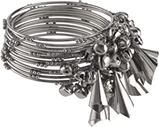 Boho Vintage Antique Gypsy Tribal Indian Oxidized Silver Plated Tassel Bracelets Bangle Set