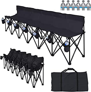 BenefitUSA Folding Sports 6 Seater Sideline Portable Bench with Storage Bag and Carry Bag