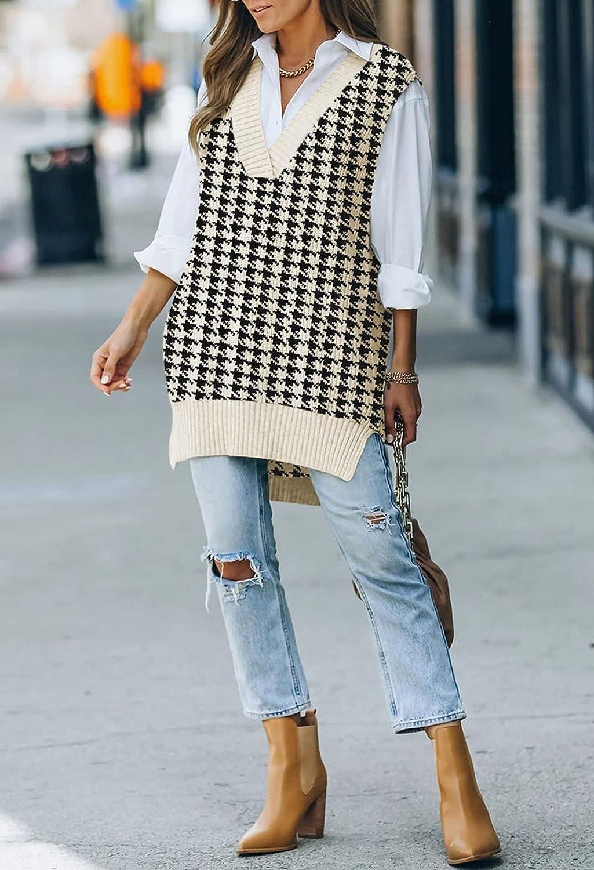 Kisscynest Women's Oversized V Neck Knitted Sweater Vest Casual Loose Sleeveless Sweater Pullover