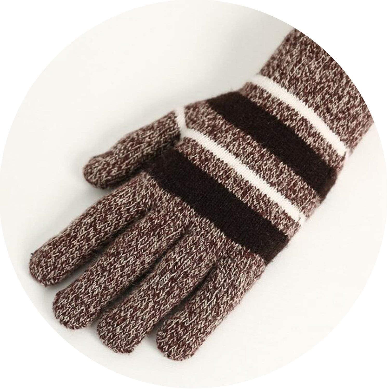 Samantha Warm Gloves Winter Men Women Plus Plush Thicker Knit Keep Warm Gloves Faux Wool Knit Stripes Full Finger Mittens Gloves (Color : Coffee, Size : Oneszie)