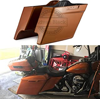 Advanblack Amber Whiskey 4 1/2 inch Stretched Hard Bags Extended Saddlebags Bottoms Fit for Harley Touring Road Glide Street Glide Electra Glide 2014 2015 2016 2017 2018 2019