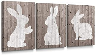 SUMGAR Rustic Wall Art Bedroom 3 Piece Animal Pictures White Rabbit Canvas Prints Artwork,12x16 inch
