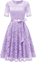 DRESSTELLS Short Scoop Bridesmaid Floral Lace Dress Cocktail Formal Swing Dress