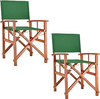 Deuba Set de 2X sillas Plegables Cannes Verde de Madera de eucaliptio y Fundas extraíbles jardín Exterior Interior