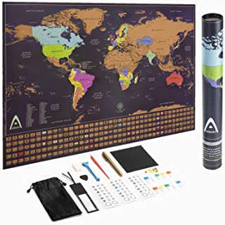 Adroit World Scratch Off Map of The World Poster, Travel Map with US States and Canada Provinces, Includes Complete Accessories Set and All Country Flags, Perfect Wall Art for Travelers