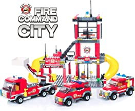 WishaLife City Police, City Fire Station Building Set with City Fire Command Centre and Emergency Vehicle Toys for Boys Girls (788 Pieces)