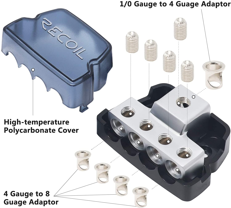 1 X 0//2//4 Gauge in 1PCS Recoil DB14 4 Way Power Distribution Block 4 X 4//8 Gauge Out Power Distribution Ground Distributor Block for Car Audio Amplifier Splitter