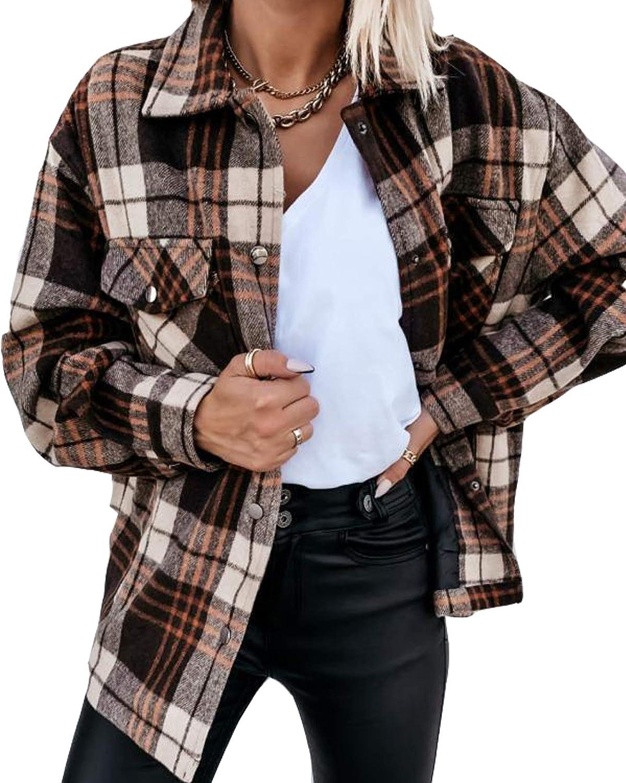 Plaid Shirt Jacket Women Wool Blend Lapel Button Down Long Sleeve Casual Coat