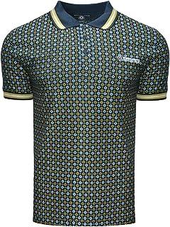 Lambretta Mens Geometric AOP Cotton Polo Shirt - Navy - M