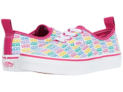 Vans Kids Authentic Elastic Lace (Little Kid) ((Rainbow Vans) Cabaret/True White) Girls Shoes