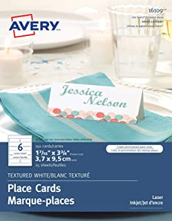 "Avery Textured Place Cards for Inkjet and Laser Printers, 1.44"" x 3.75"", White, 150 Cards (16109)"