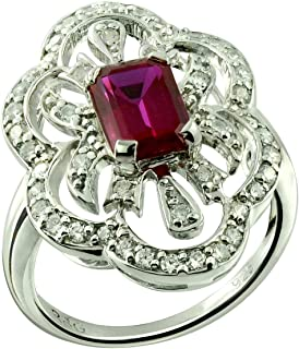 RB Gems Sterling Silver 925 Ring Synthetic Gems Emerald-Cut 7x5 mm, Round Stone accented, Rhodium-Plated