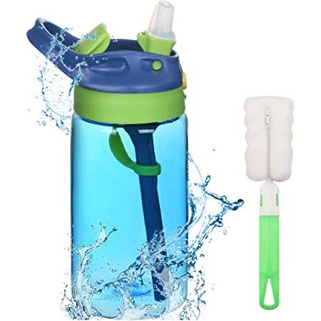 Flintronic Sippy Cup, 480ML Kids Drink Bottle, Toddler Cup, Leak-Proof, Shatter-Proof, BPA-Free for Water, Milk, Juice (Brush Included)